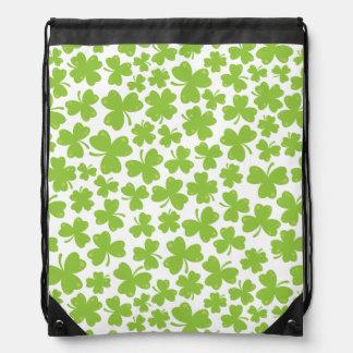 Clover Leaf Illustration Drawstring Bag