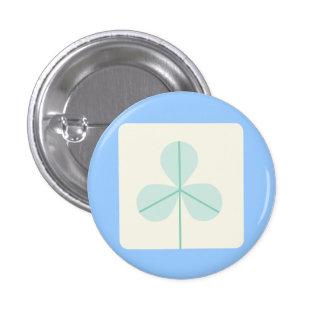 Clover Leaf Three Green Trefoil Luck Irish Cartoon Button