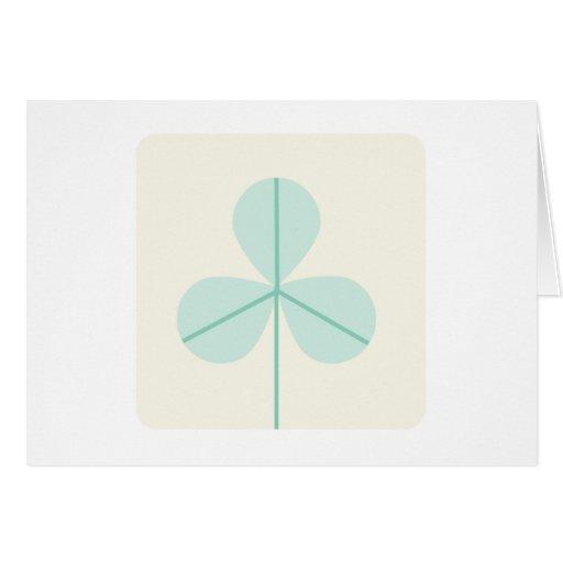 Clover Leaf Three Green Trefoil Luck Irish Cartoon Greeting Card