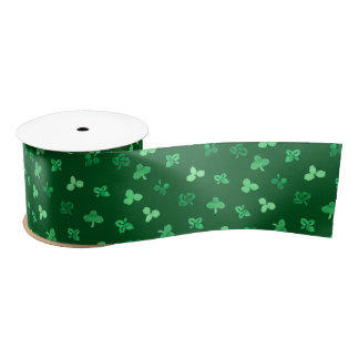 Clover Leaves 3'' Wide Satin Ribbon
