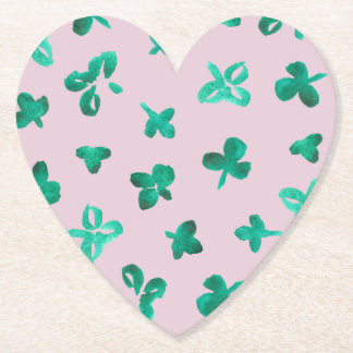 Clover Leaves Heart Paper Coaster