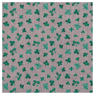Clover Leaves Natural Linen Fabric