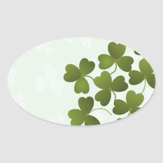 Clover Leaves Oval Sticker