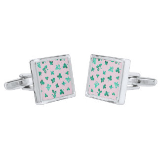 Clover Leaves Square Cufflinks Silver Finish Cuff Links