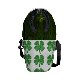 Clover Luck Lucky St. Patrick's Destiny Destiny's Messenger Bags