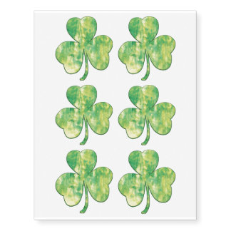 Clover only - Happy St Patrick's Day - 6 tattoos