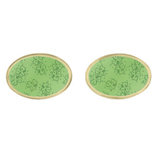 Clover Over and Over Gold Finish Cufflinks