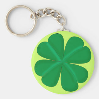 Clover sheet four-leaf talismans basic round button key ring