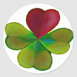 Clover sheets with heart classic round sticker