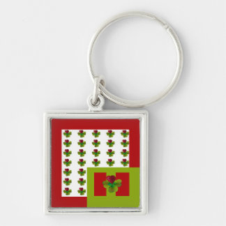 Clover sheets with heart Silver-Colored square key ring