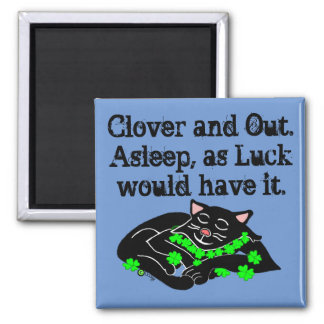 Clover The Lucky Black Cat Sleep Square Magnet
