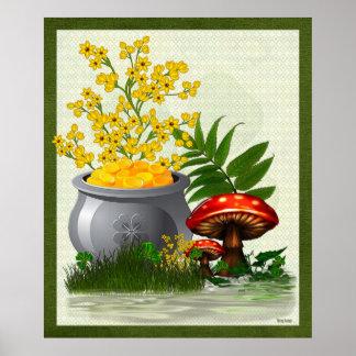 Clover Trail Whimsical Folk Art Poster