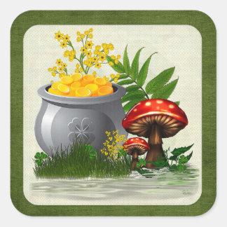 Clover Trail Whimsical Folk Art Square Sticker