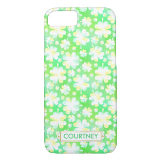 Clovers Green Shamrocks Irish Pretty Custom Name iPhone 7 Case