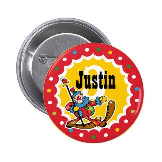 Clown Around 3rd Birthday Custom Button