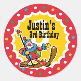 Clown Around 3rd Birthday Custom Sticker