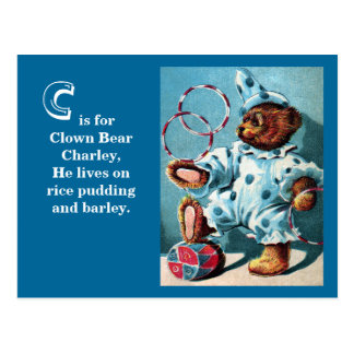Clown Bear Charley - Letter C - Vintage Teddy Bear Postcard