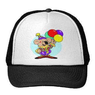Clown bear holding balloons cap