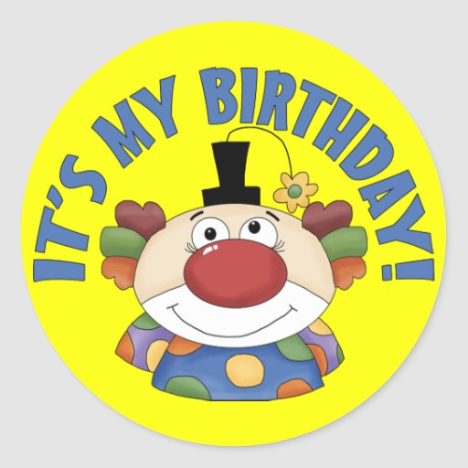 Clown Birthday Stickers