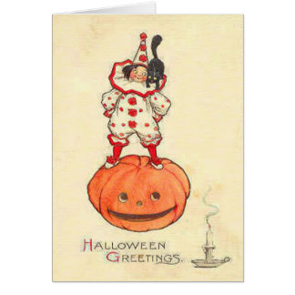 Clown Black Cat Jack O Lantern Pumpkin Greeting Card