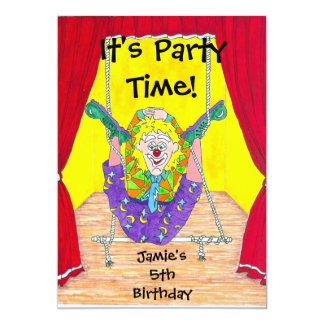 Clown Capers Birthday Party Invitation