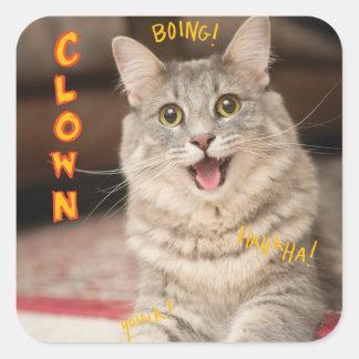 Clown Cat Square Sticker