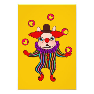 Clown Dog Frenchie entertains you with his love Photo Print