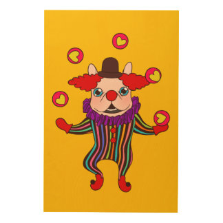 Clown Dog Frenchie entertains you with his love Wood Wall Art