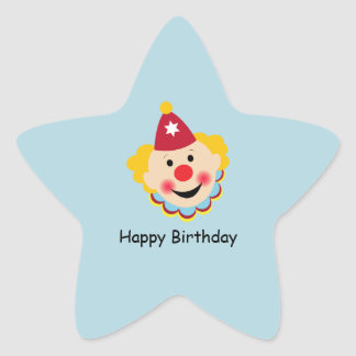 Clown Face Birthday Stickers