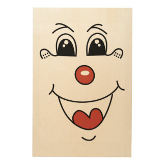 CLOWN FACE WOOD WALL ART