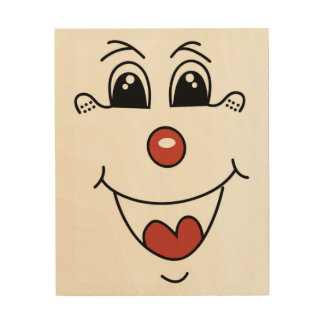 CLOWN FACE WOOD WALL DECOR