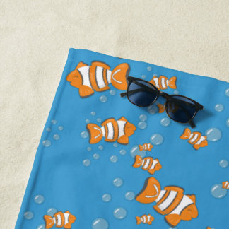 Clown Fish and Air Bubbles Beach Towel