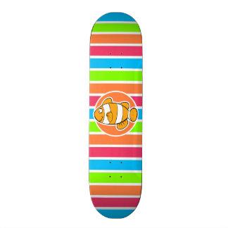 Clown Fish; Retro Neon Rainbow Skate Boards