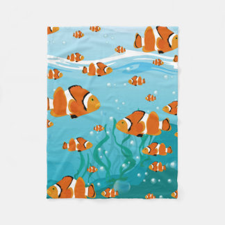 Clown Fish Under the Sea Fleece Blanket