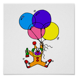 Clown floating under balloons poster