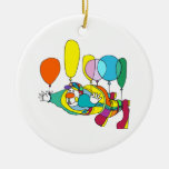Clown flying by balloon christmas ornament