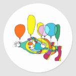 Clown flying by balloon classic round sticker