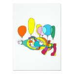 Clown flying by balloon invitations