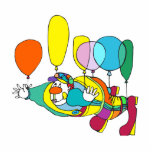 Clown flying by balloon photo cut out