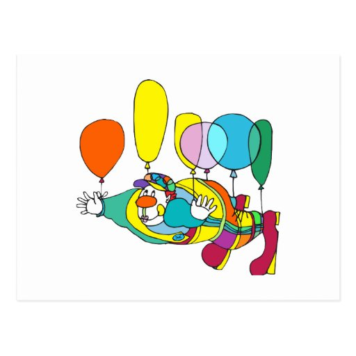 Clown flying by balloon postcard
