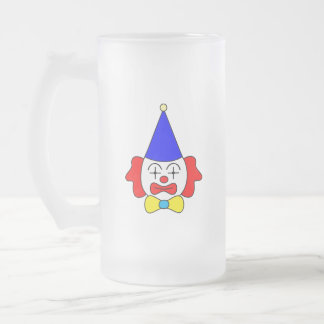 Clown - funny face. frosted glass beer mug