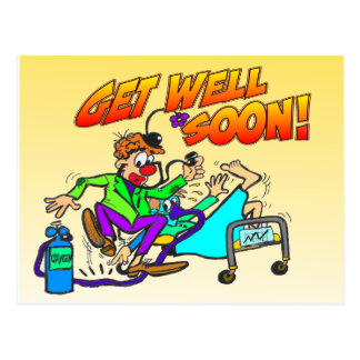Clown Get Well Soon Postcard