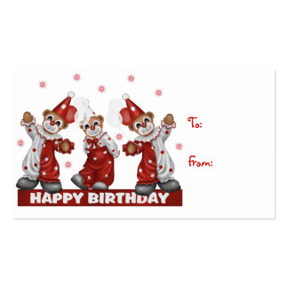 Clown Gift Tag Happy Birthday Business Card Template