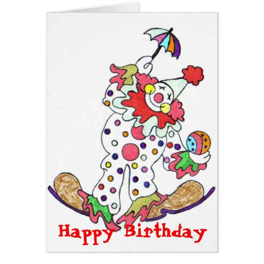 Clown, Happy Birthday Card