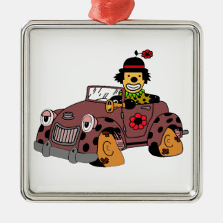 Clown in Car Silver-Colored Square Decoration
