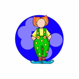 Clown in polka dots standing photo sculpture