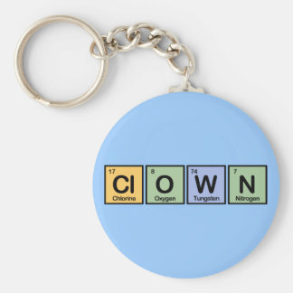 Clown made of Elements Basic Round Button Key Ring