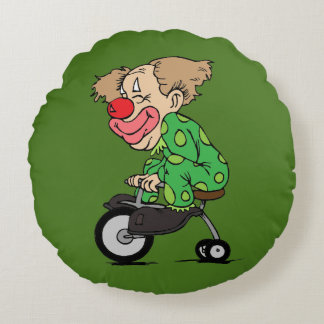 Clown on Tricycle Round Cushion