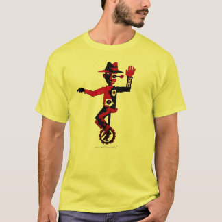 Clown on unicycle abstract graphic art t-shirt