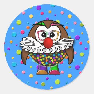 clown owl round sticker